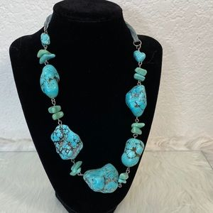 Beautiful Necklace of Simulated Turquoise Nuggets